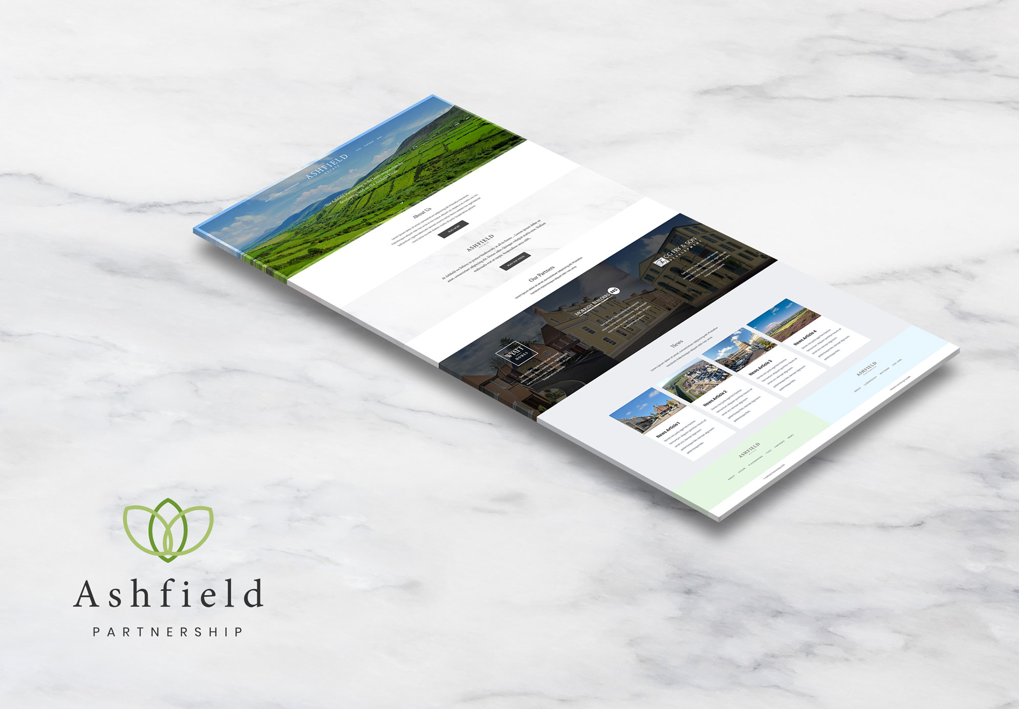 The Ashfield Partnership - Website Perspective Mockup