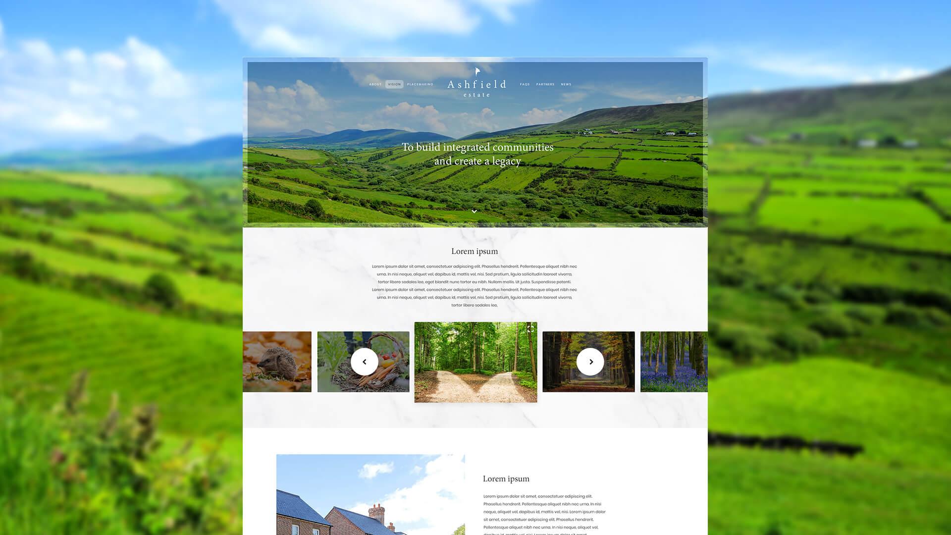 The Ashfield Estate - Website Mockup