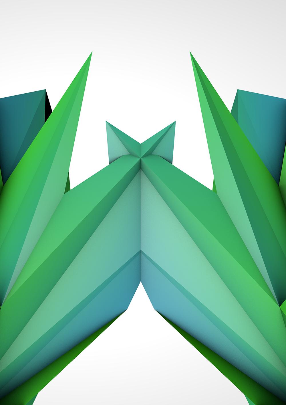 Blender Render Green Low Poly Shape 1