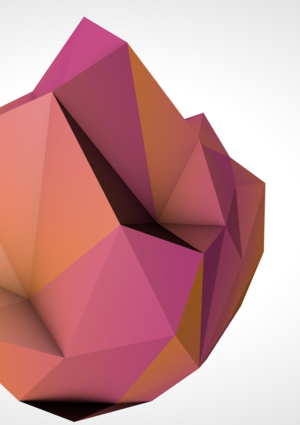 Blender Render Pink Low Poly Shape 2