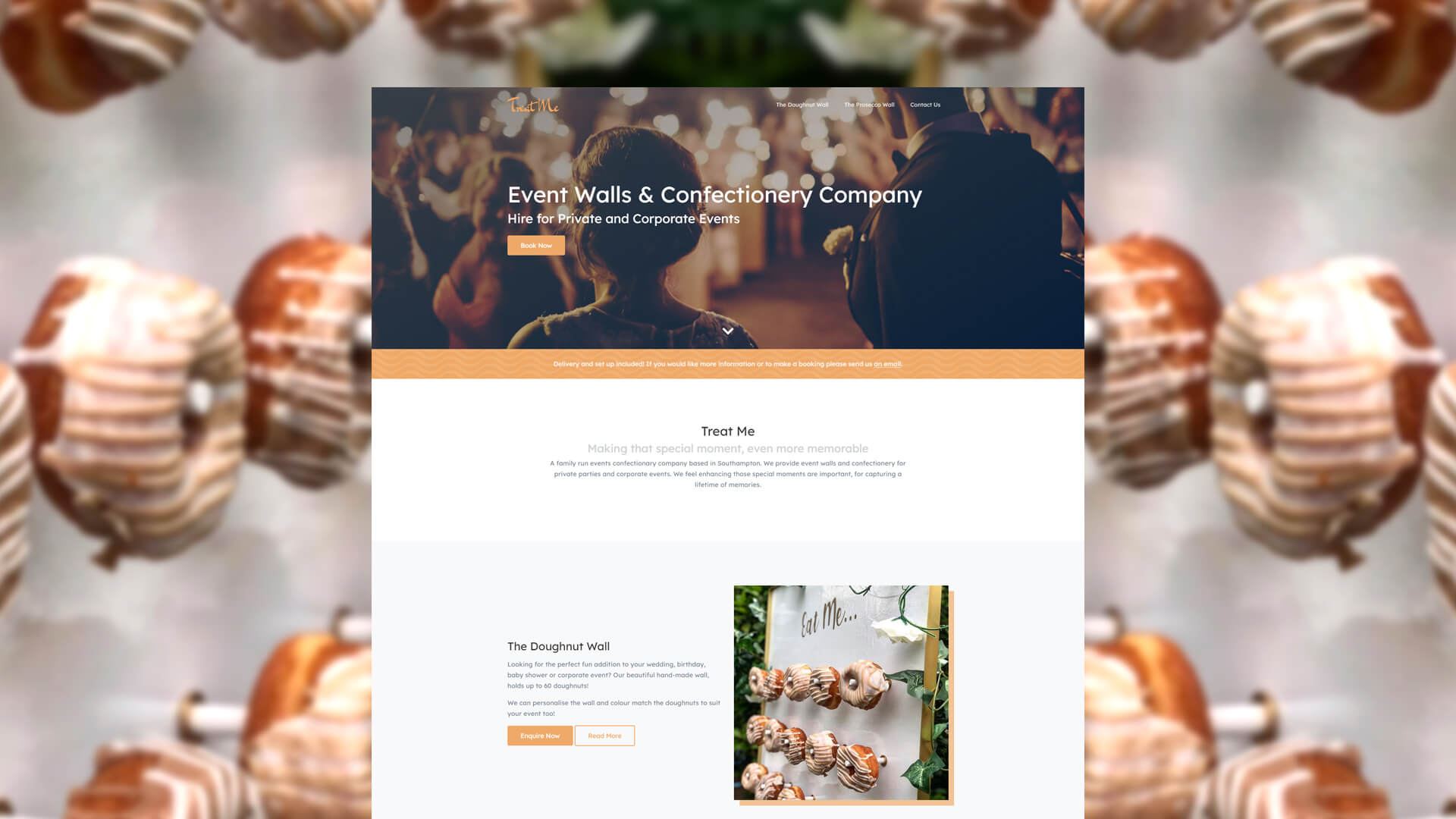 Treat Me Homepage Website Design