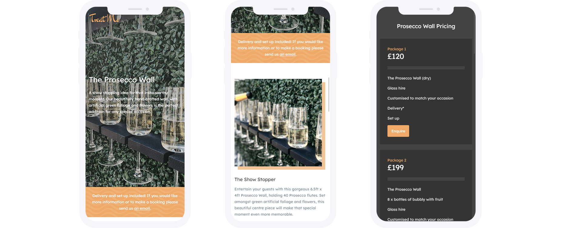 Treat Me Mobile Website Design Prosecco Page